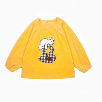 米豆酷尔 秋冬新款字母小熊宝宝外罩衣灯芯绒男女孩