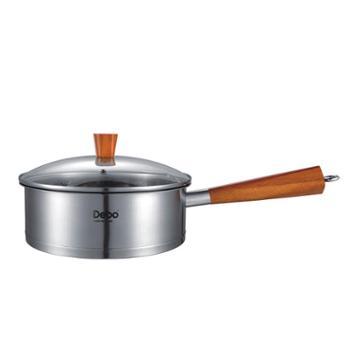 德国Debo德铂艾特朗不锈钢煎锅木柄无涂层无油烟不粘锅平底锅24cm