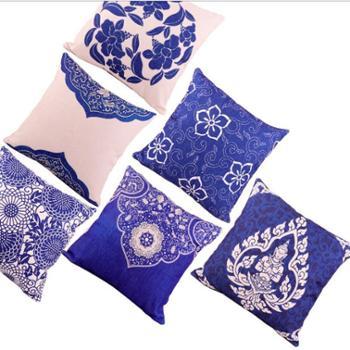 新款中式古典青花瓷加厚棉麻印花抱枕中国风茶艺禅宗沙发靠垫含芯