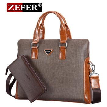 送钱包!zefer新款 时尚子母包 男士手提包 斜挎单肩包商务公文包