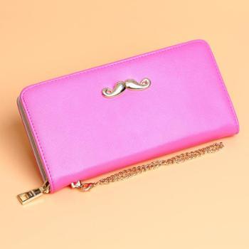 新款韩版潮流女士钱包长款小胡子学生拉链钱夹时尚漆皮女式手拿包