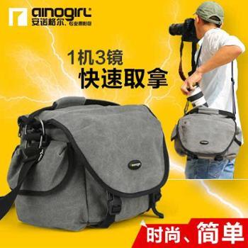 安诺格尔帆布单肩单反相机包 户外斜挎男女微单佳能60d专业摄影包