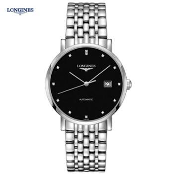 瑞士浪琴LONGINES手表博雅系列自动机械钢带男腕表39mm黑盘带钻L4.910.4.57.6