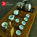 整套龙泉青瓷得福大茶盘哥窑茶壶茶杯实木茶盘电磁炉四合一功夫茶具套装特价