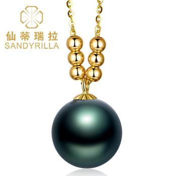 仙蒂瑞拉SANDRILLA10-11mm大溪地黑珍珠18K金吊坠含18K金链