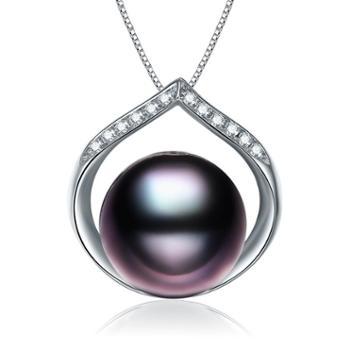 仙蒂瑞拉 SANDYRILLA 永恒之星 9-10mm大溪地黑珍珠18K金钻石吊坠(附证书)2058