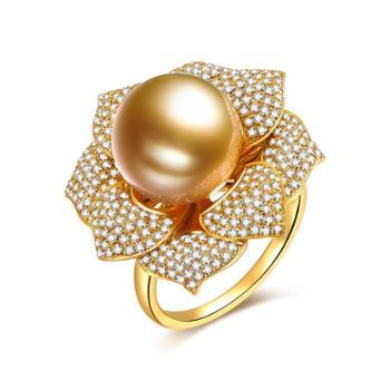 仙蒂瑞拉 SANDYRILLA 优雅豪华镶嵌钻石款南太平洋金珍珠11-12mm戒指(定制款)