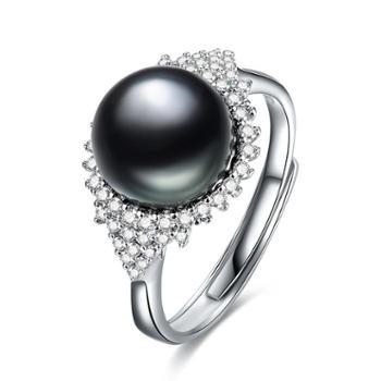 仙蒂瑞拉SANDYRILLA繁华9-10mm大溪地黑珍珠戒指附证书XDRL2295