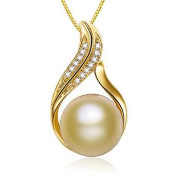 仙蒂瑞拉 SANDYRILLA 10-11mm南洋金珍珠18K金钻石吊坠-贵妇人