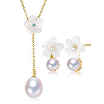 仙蒂瑞拉 十里桃花 淡水珍珠925银耳钉项链套装仙女气质 附证书