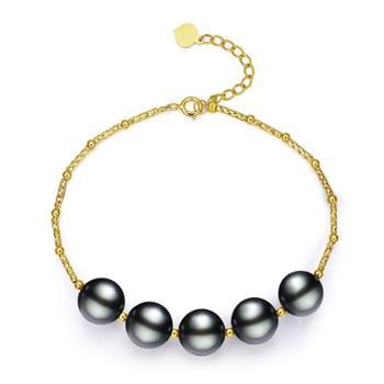 仙蒂瑞拉 时尚气质18K珍珠手链 大溪地黑珍珠手串 正圆强光气质迷人 附证书