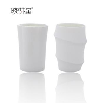 晓味窑精品茶具白瓷茶具青梅竹马对杯