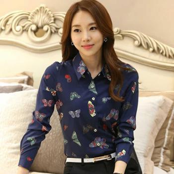 新款女装韩版修身印花衬衫女长袖职业休闲百搭衬衣碎花雪纺衫