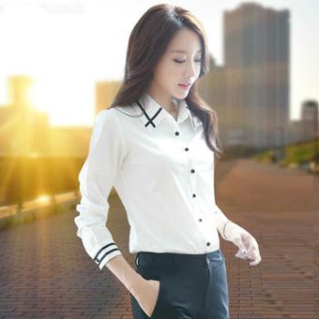 浪漫雅莎新款ol上衣白衬衫女长袖韩范职业学院风显瘦修身百搭雪纺衬衣