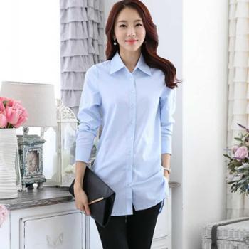 2016春季新款韩版休闲女衬衣棉麻白衬衫长袖衬衫中长款打底衫