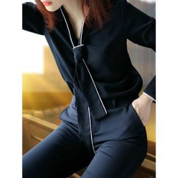 浪漫雅莎黑色衬衫女长袖加绒2019新款秋装韩范蝴蝶结上衣雪纺职业白衬衣寸S-3XL