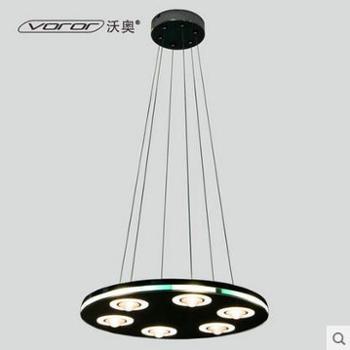 沃奥宜家LED吊灯6头客厅餐厅吊灯黑色超薄圆形水晶玻璃吊灯