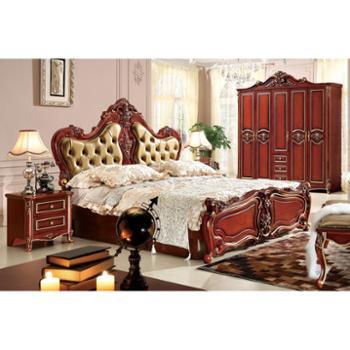 法式床 真皮床 公主床 高箱储物床 婚床 简欧式床双人床家具