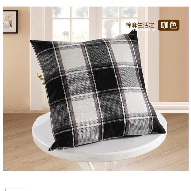 置家 时尚简约现代棉麻格子抱枕亚麻床头沙发办公室靠枕靠垫含芯单个