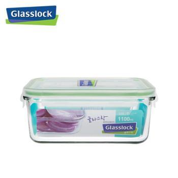 CHEFTOPFGlasslock韩国进口钢化玻璃饭盒微波炉冰箱收纳盒保鲜盒1100mlMCRB-110天蓝i1100ML