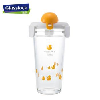 GLASSLOCK玻璃水杯刻度带盖玻璃杯便携杯摇摇杯女学生韩国可爱牛奶杯450ML