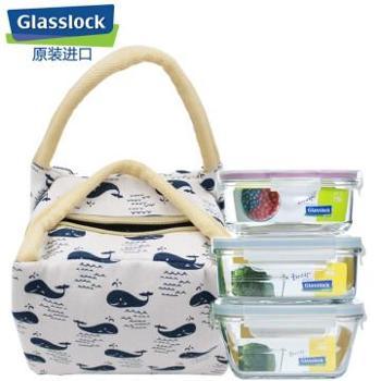 Glasslock玻璃饭盒保鲜盒密封盒便3件套天蓝i2340ML