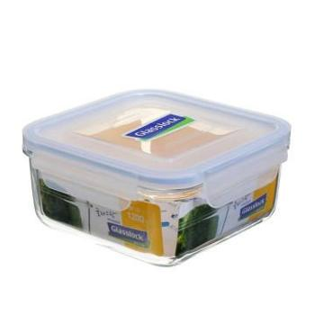 Glasslock韩国进口耐热钢化玻璃方形保鲜盒1200ML-1200MM-天蓝色