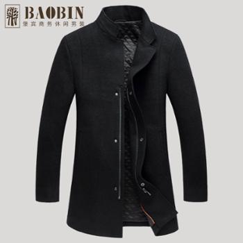 堡宾BAOBIN男士新款黑色立领毛呢大衣173330041