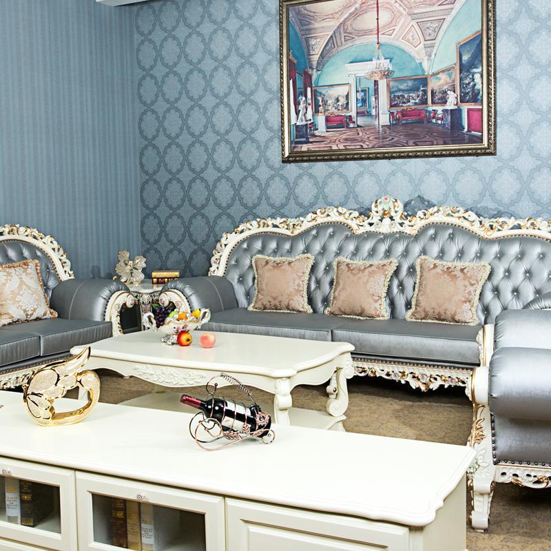 欧式沙发 法式沙发奢华实木雕花真皮沙发客厅123组合沙发皮质沙发