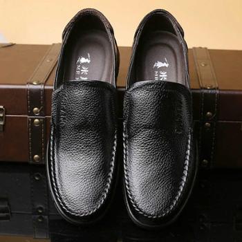 米斯康男鞋新款男士商务休闲皮鞋英伦套脚圆头牛皮鞋子爸爸鞋8801