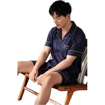 妮狄娅睡衣男士家居服纯棉翻领开衫短袖短裤简约纯色时尚套装TM20238