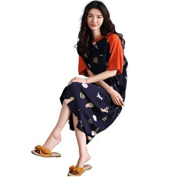 妮狄娅家居服韩版女士睡衣纯棉短袖宽松长裙休闲可外穿睡裙LF20230