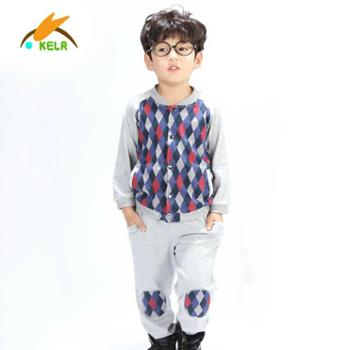 可丽儿童装男女童卫衣套装菱格棒球服套装儿童韩版上衣休闲