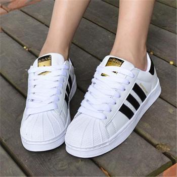 adidas三叶草女鞋SUPERSTAR贝壳头金标黑白低帮休闲板鞋C77154