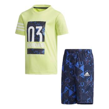 Adidas阿迪达斯儿童休闲运动短袖短裤套装LBSSCLTEESECW0419-M