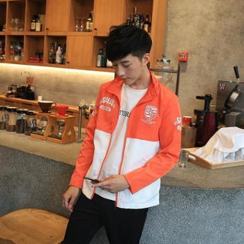 卡郎琪 男士新款薄款夹克 韩版修身男式外套立领防嗮衣 男青年舒适拼接个性百搭外衣 KLQKX-J07