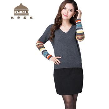 巴音孟克女式羊绒衫提花V领羊绒毛衣