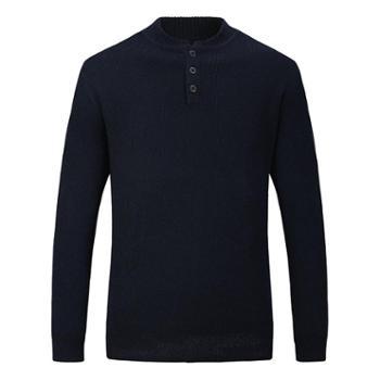 巴音孟克 男式棒球领羊绒衫纯羊绒加厚羊绒毛衣