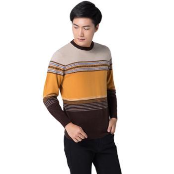 巴音孟克男式纯羊绒衫提花羊绒衫毛衣