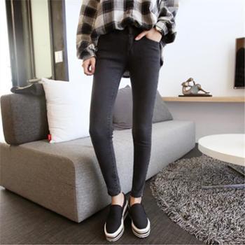 秋冬新品紧身灰色长裤小脚牛仔裤女显瘦黑色高腰铅笔韩版