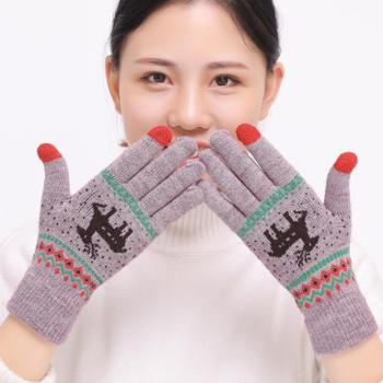 布艺工坊冬季女士麋鹿提花针织手套触屏五指保暖毛线手套