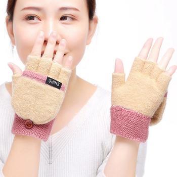 布艺工坊男女冬季新款翻盖针织保暖手套露指包指两用女士手套