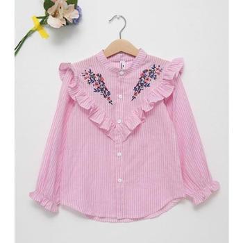 秋季童装衬衫女童条纹长袖上衣花边绣花纯棉衬衣