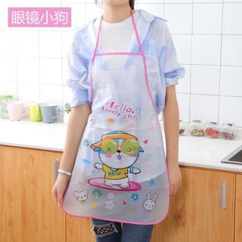 可爱卡通防水防油公主女士围裙韩版时尚厨房做饭半身成人无袖围腰围裙