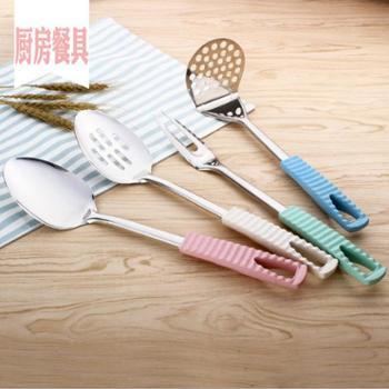 厨房烹饪勺铲小麦防烫手柄厨房工具不锈钢加厚厨具厨房小用品一件