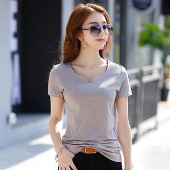 2018 韩版修身T恤水滴领 纯色简单款大码纯棉短袖女T恤时尚1815