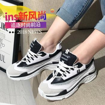 ins超火的鞋子女春季厚底运动鞋原宿老爹鞋同款zipper小白鞋