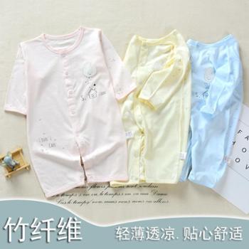 新款婴儿哈衣两用档竹纤维空调服新生儿竹炭棉爬服宝宝连体衣