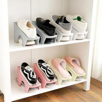 (生活用品收纳鞋架)2191仿藤编双层鞋架鞋子收纳架家用客厅一体式鞋托省空间鞋架子