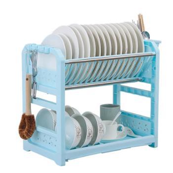 塑料双层碗架碗筷碗碟沥水架碗柜厨房置物架餐具收纳架送筷笼